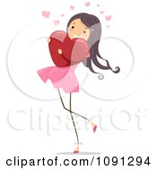 Clipart Girl Walking And Hugging A Red Heart Royalty Free Vector Illustration