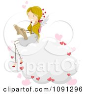 Girl Cupid Reading A Love Letter On A Cloud