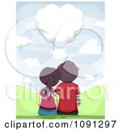 Clipart Couple Sitting And Gazing At A Heart Shaped Cloud Royalty Free Vector Illustration