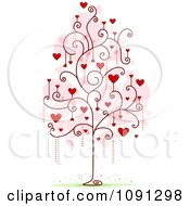 Clipart Tree With Red Heart And Spiral Foliage Royalty Free Vector Illustration