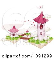 Clipart Floating Valentine Tower With Foot Bridges Royalty Free Vector Illustration
