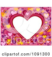 Clipart White Frame Surrounded By Colorful Hearts Royalty Free Vector Illustration