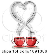 Heart Shaped Coffee Steam Over Two Red Mugs