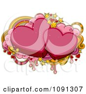 Clipart Two Pink Hearts And Valentine Grunge Royalty Free Vector Illustration