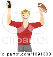 Clipart Football Fan Holding Up A Remote And Ball Royalty Free Vector Illustration