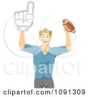 Clipart Football Fan Holding Up A Number One Hand And Ball Royalty Free Vector Illustration