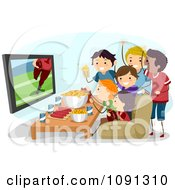 Group Of Teenagers Watching A Super Bowl Football Game On Tv