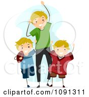 Clipart Dad And Sons Cheering For A Football Game Royalty Free Vector Illustration