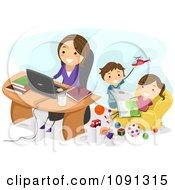 Happy Mom Working At Home As Her Kids Play Behind Her
