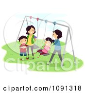 Clipart Happy Family Playing On A Swing Set Royalty Free Vector Illustration