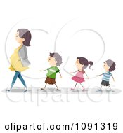 Clipart Children Following Their Pregnant Mom Royalty Free Vector Illustration