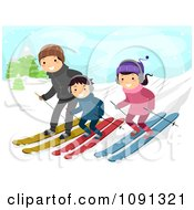 Clipart Happy Family Skiing Down A Slope Royalty Free Vector Illustration