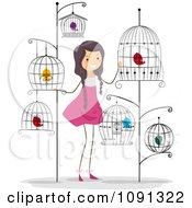 Clipart With With A Lot Of Bird Cages Royalty Free Vector Illustration