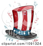 Clipart American Stars And Stripes Top Hat And Confetti Royalty Free Vector Illustration