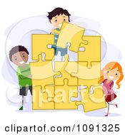 Clipart Kids Assembling A Large Yellow Jigsaw Puzzle Royalty Free Vector Illustration by BNP Design Studio