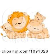 Clipart Cute Lion Family Royalty Free Vector Illustration