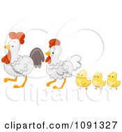 Clipart Cute Chicken Family Walking Royalty Free Vector Illustration by BNP Design Studio