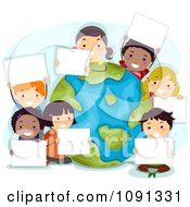 Clipart Happy Kids Holding Signs Around A Globe On Earth Day Royalty Free Vector Illustration by BNP Design Studio