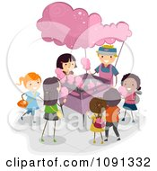 Clipart Excited Children At A Cotton Candy Vendor Stand Royalty Free Vector Illustration by BNP Design Studio