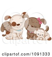 Clipart Cute Dog Family Royalty Free Vector Illustration