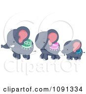 Clipart Cute Elephant Family Walking Royalty Free Vector Illustration by BNP Design Studio