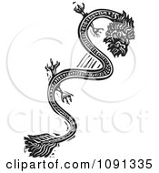 Clipart Chinese Dragon Black And White Woodcut Royalty Free Vector Illustration by xunantunich