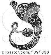 Clipart Chinese Woodcut Dragon Black And White Royalty Free Vector Illustration by xunantunich