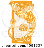 Clipart Chinese Dragon Orange Woodcut Royalty Free Vector Illustration by xunantunich