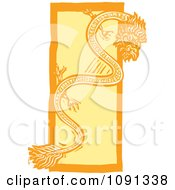 Clipart Chinese Dragon Orange And Yellow Woodcut Royalty Free Vector Illustration by xunantunich