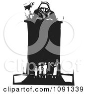 Judge Holding A Gavel At A Podium In Front Of Tiny People Black And White Woodcut