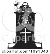 Clipart Judge Holding A Gavel At A Christian Podium Black And White Woodcut Royalty Free Vector Illustration by xunantunich #COLLC1091340-0119