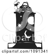 Clipart Judge Holding A Gavel At A Celestial Podium Black And White Woodcut Royalty Free Vector Illustration by xunantunich