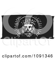 Clipart Jesus Head Black And White Woodcut Royalty Free Vector Illustration by xunantunich
