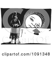 Clipart Man And Person By A Sad Setting Sun Black And White Woodcut Royalty Free Vector Illustration by xunantunich