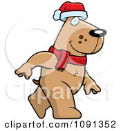 Clipart Walking Christmas Dog Royalty Free Vector Illustration
