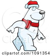 Clipart Walking Christmas Polar Bear Royalty Free Vector Illustration by Cory Thoman