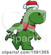 Clipart Walking Christmas T Rex Royalty Free Vector Illustration