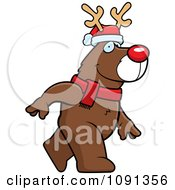 Clipart Walking Christmas Rudolph Reindeer Royalty Free Vector Illustration