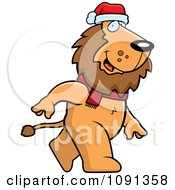 Clipart Walking Christmas Lion Royalty Free Vector Illustration