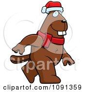 Clipart Walking Christmas Beaver Royalty Free Vector Illustration