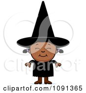 Clipart Happy Black Halloween Witch Girl Royalty Free Vector Illustration