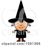Clipart Happy Asian Halloween Witch Girl Royalty Free Vector Illustration
