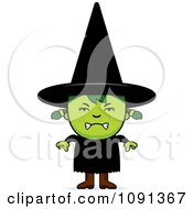 Clipart Mad Green Halloween Witch Girl Royalty Free Vector Illustration
