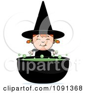 Clipart Happy Halloween Witch Girl And Cauldron Royalty Free Vector Illustration