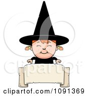 Clipart Happy Halloween Witch Girl Over A Banner Royalty Free Vector Illustration