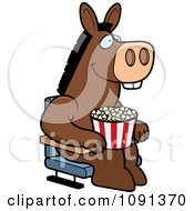 Clipart Happy Donkey With Popcorn At The Movie Theater Royalty Free Vector Illustration by Cory Thoman