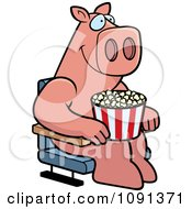 Clipart Happy Pig With Popcorn At The Movie Theater Royalty Free Vector Illustration by Cory Thoman