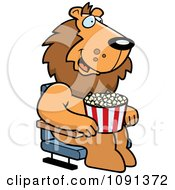 Clipart Happy Lion With Popcorn At The Movie Theater Royalty Free Vector Illustration