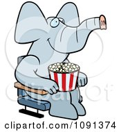 Clipart Happy Elephant With Popcorn At The Movie Theater Royalty Free Vector Illustration by Cory Thoman