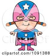 Clipart Happy Super Girl Royalty Free Vector Illustration